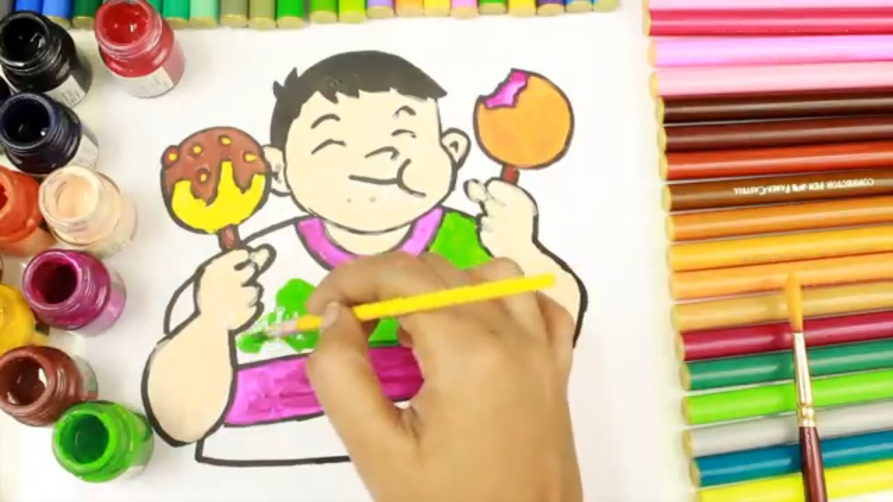 drawing u0026 coloring fat kid how to draw and paint children