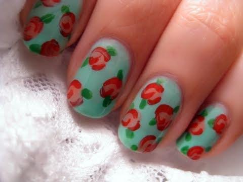 floral vintage rose nail art