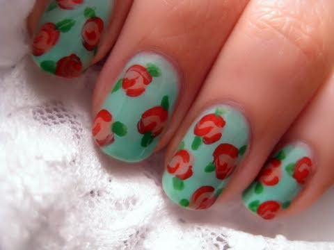 Floral Vintage Rose Nail Art Youtube