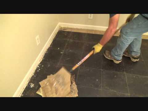 How to remove vinyl floor tiles with a floor scraper - YouTube