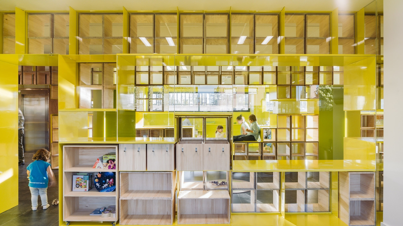 Walls with integrated furniture and yellow nooks encourage - Ikea madrid sofas ...