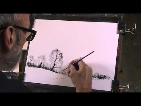 Basic drawing with Black acrylic paint, ink etc  Norfolk Impressions  Pt  1