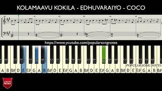 KOLAMAAVU KOKILA - EDHUVARAIYO - COCO ( HOW TO PLAY ) MUSIC NOTES