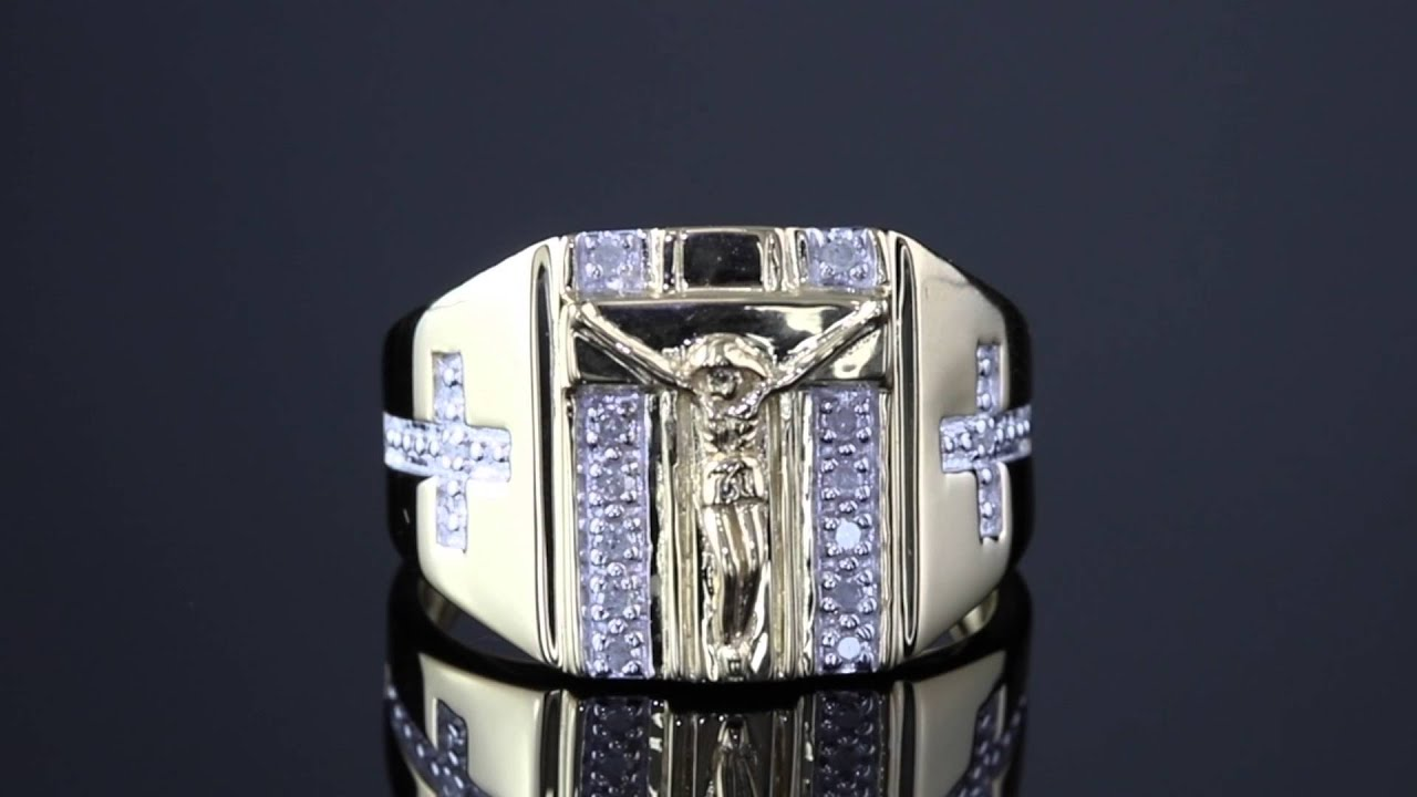 3205c4881ff9e Men's 1/10 TCW Round Diamond Crucifix And Cross Ring In 18k Gold Over  Sterling Silver Sizes 9-13