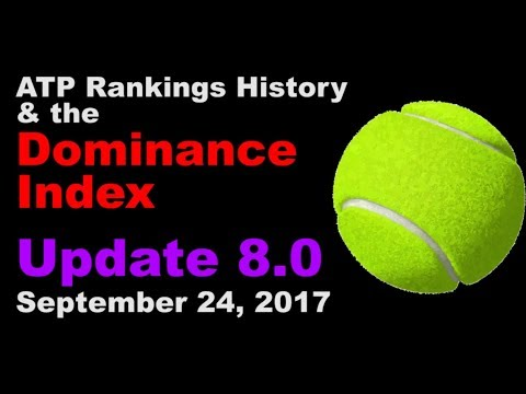 🏅 ATP Rankings History from 1973 Onwards & 'Dominance Index' – 'Update 8.0' – Sep.18-24, 2017 🏅