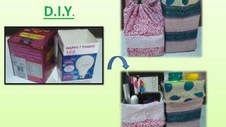 Reuse Old box and cloth into Drawstring box bag diy | Learning Process