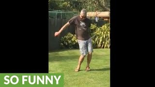 Dad busts out hilarious Fortnite dance moves