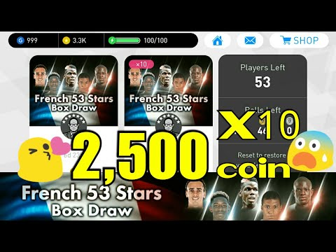 French 53 Stars Box Draw Opening 2,500 coin!!  PES 2018 Mobile