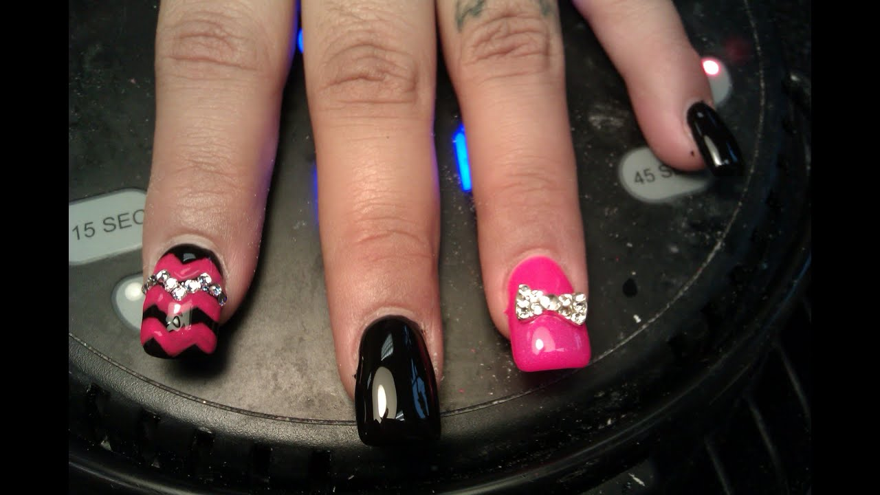 Gel Nails: 3D Diamond Bow & Tribal Nail Art Design - YouTube