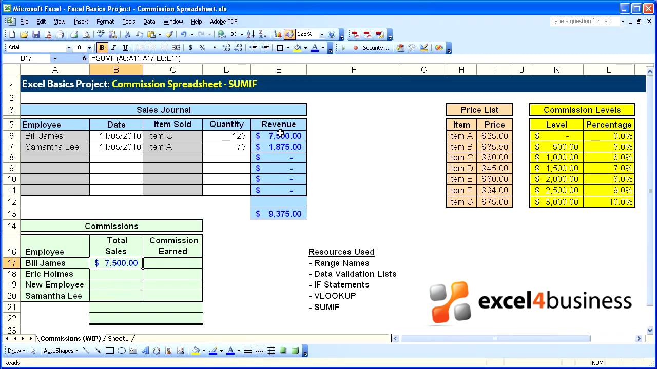 excel basics 019 project commission spreadsheet sumif youtube