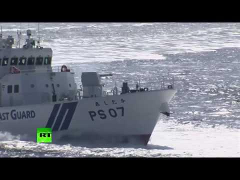 RAW: 15 vessels, 4 aircraft take part in Japan's coastguard drills