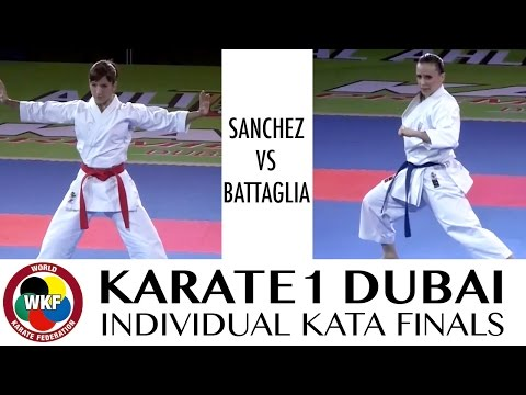 Sandra SANCHEZ vs Sara BATTAGLIA. Karate1 Premier League Dubai 2016. Final Individual Female Kata