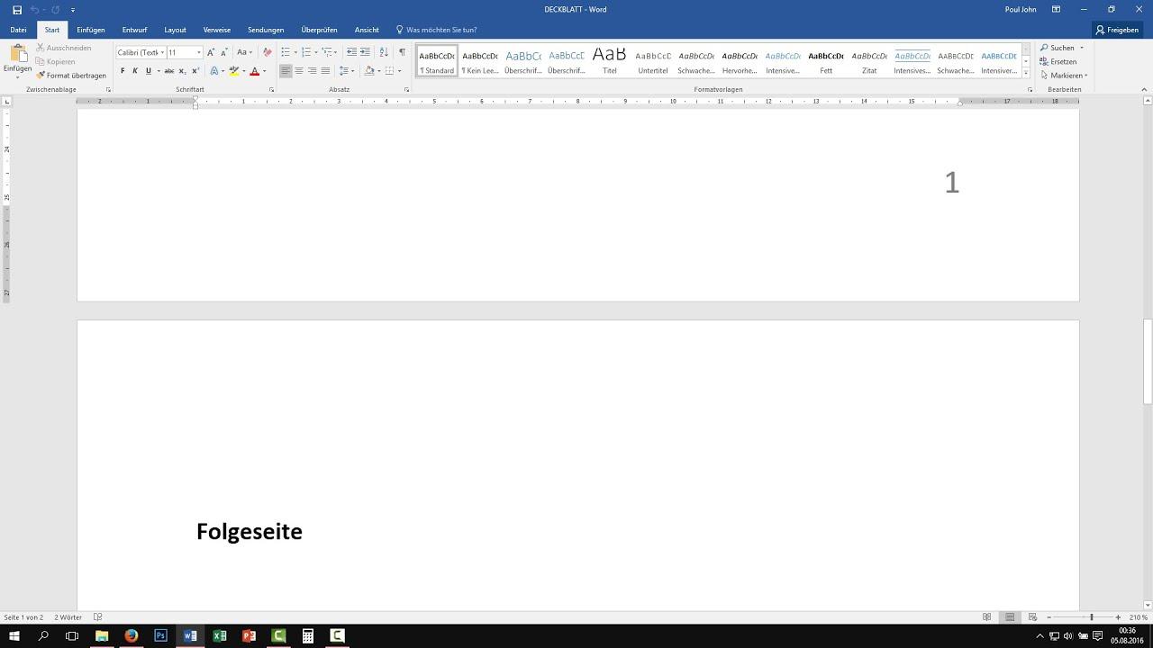 Word Deckblatt Ohne Seitenzahl Seitenzahl Nicht Auf Erster Seite