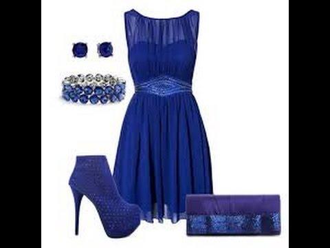 Что одеть на новый год, синее платье и аксессуары