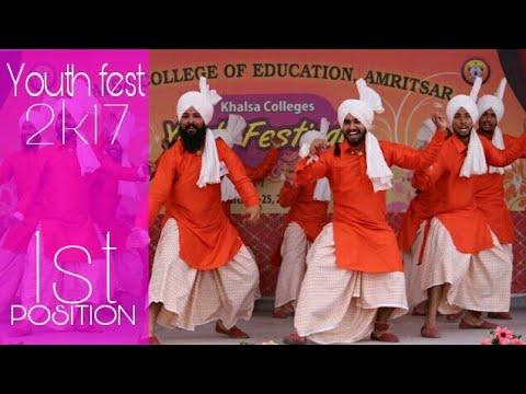 BHANGRA - Khalsa college amritsar Jhumar at khalsa colleges youth fest 2017