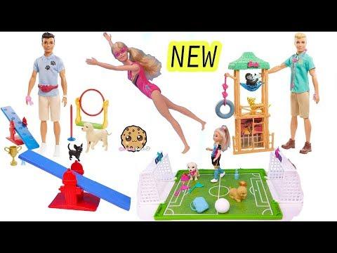 NEW 2020 Barbie Sets Noodle Maker, Swimmer, Dog Trainer, Wild Life Vet Haul Video