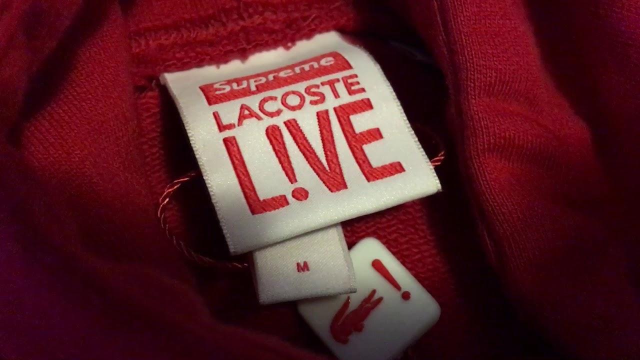 7b45b4b2ad26 Supreme  Lacoste Hooded Sweatshirt Red - YouTube