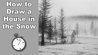 How to Draw a Landscape with a House in the Snow in Pencil - Time Lapse Drawing Tutorial
