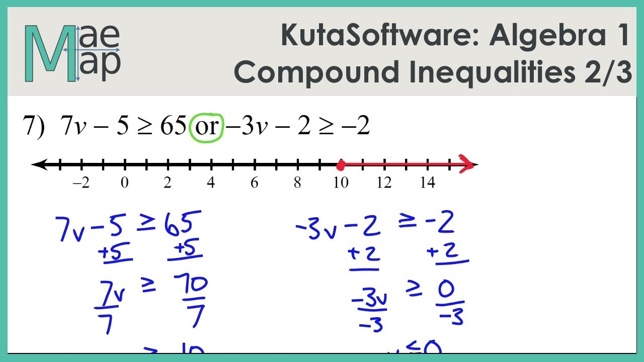 KutaSoftware Algebra 1 Compound Inequalities Part 2 YouTube – Compound Inequalities Worksheet with Answers