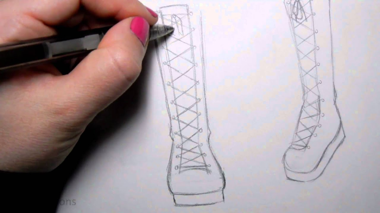 How to Draw Manga Shoes Tall Lace,Up Boot