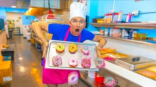 WORKING at a DONUT SHOP for 24 HOURS!! *I am the Boss*