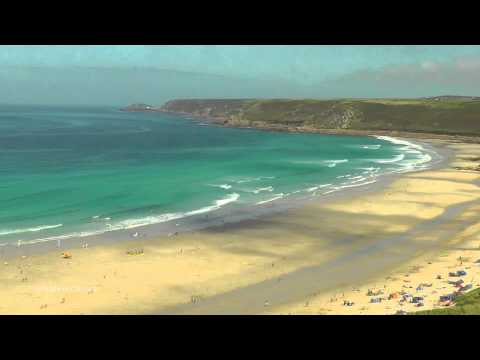 Spectacular View of Sennen Cove Beach in Cornwall - Relaxing Video and Sounds of The Ocean