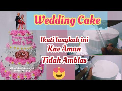 Cara Menyusun Kue Tingkat 3 || Wedding Cake Tier || TUTORIAL Menyusun Kue Pernikahan