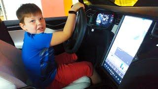 Егор с папой тестирует Tesla Model X от Elon Musk Vlog машинки