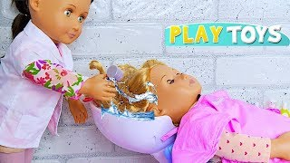 Play American Girl Baby Doll Spa Beauty Salon Toys! Baby Doll Hair Cut Shop & Dress up Pretend Play!