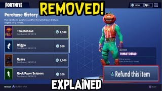 REFUND Skins for V-BUCKS *REMOVED* + Explanation - Fortnite Battle Roayle: Xbox ONE / PS4
