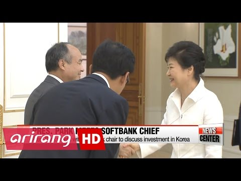 Pres. Park meets with SoftBank chair Son Jeong-ui to discuss investment in Korea