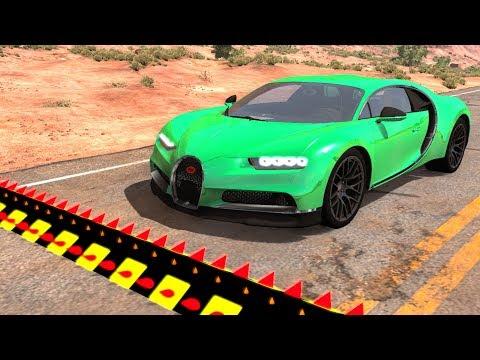 BeamNG.drive - Spike Strip High Speed Testing #30 (Beamng car Crashes)