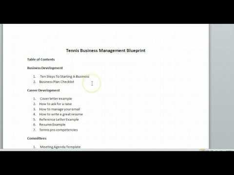 Tennis Business Managment Blueprint