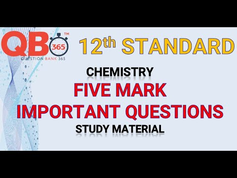 TN   12th Standard Chemistry Five Mark Important Questions With Answer Key - Full Portion
