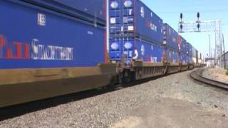 Union Pacific Freight Train With A Hobo Rider In Stockton, California, USA