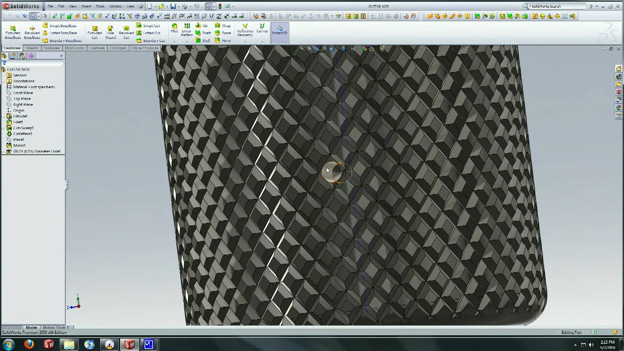 solidworks tutorial creating a knurl surface youtube