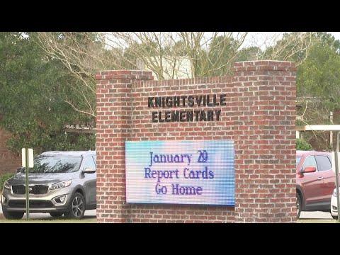 Car crash outside Knightsville Elementary School