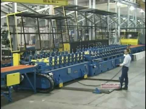 Bradbury Garage Door Panel Rollforming Line #2 - YouTube