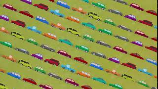 Lots of Cartoon Vector Cars Driving Up and Down in Rush Hour - Royalty Free Footage