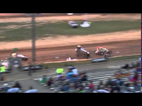 Lincoln Park Speedway Carson Short flip, Randy Shuman slams by to take mod lead. Bomber  billboards