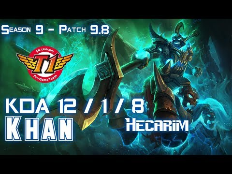 SKT T1 Khan HECARIM vs KINDRED Jungle - Patch 9.8 KR Ranked
