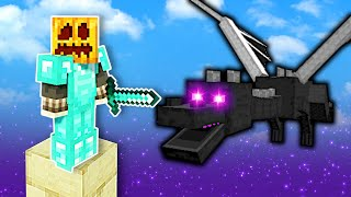 Ender Dragon Battle but in ONE BLOCK Skyblock! - Minecraft Multiplayer Gameplay