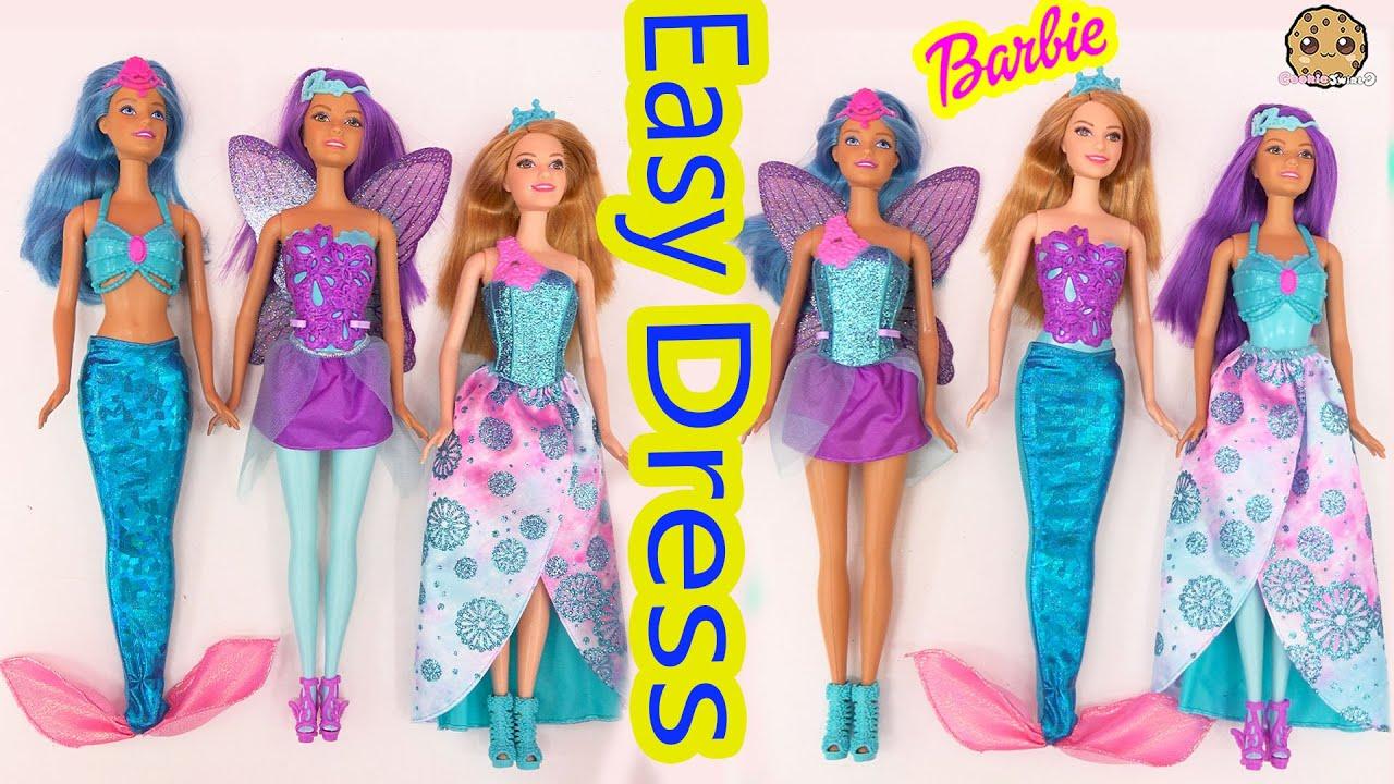 3 Barbie Easy Dress Up Dolls Mermaid Fairy Princess