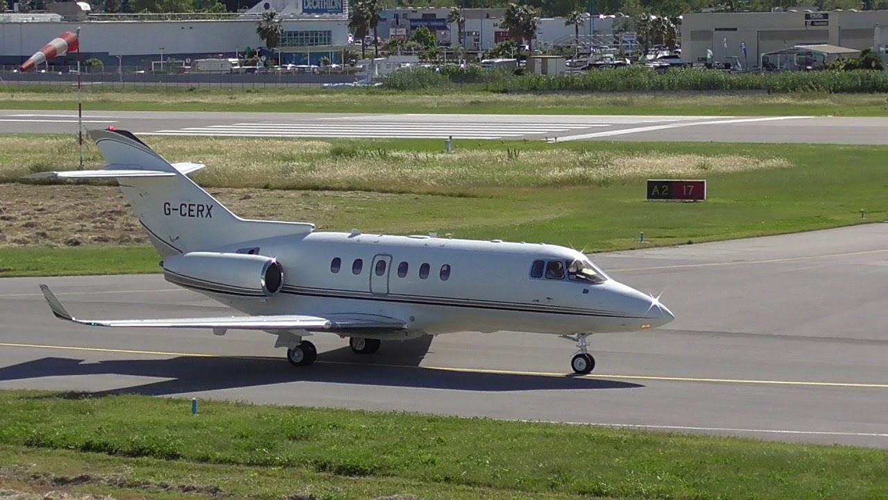 Strong Crosswind Hawker 850XP G-CERX taking-off from Cannes Mandelieu