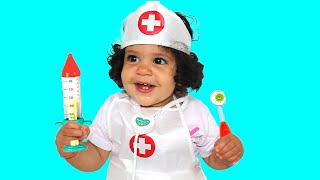 Doctor Baby amira Pretend Play with her Sami brother  