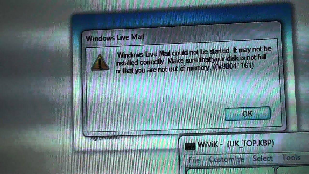 Windows Live Mail Error 0x80041161 Microsoft