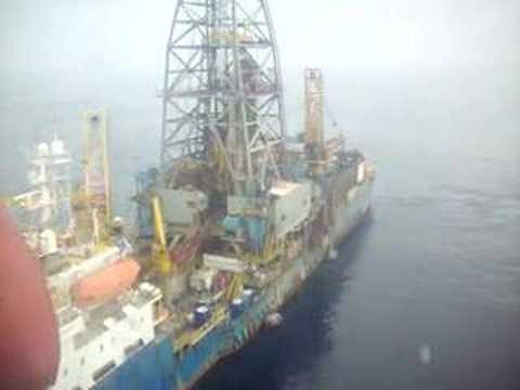 helicopter landing on drillship
