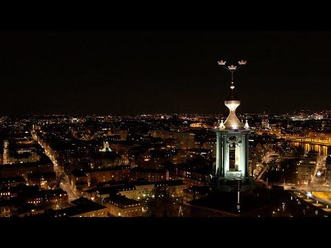 5598. Stadshuset (Stockholm City Hall - Nobel) Drone Stock Footage Video