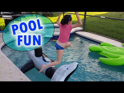 pool fun kid summer fun jumping swimming with pool toys youtube. Black Bedroom Furniture Sets. Home Design Ideas