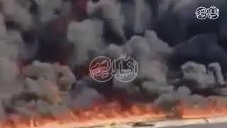 اخبار اليوم | حريق ضخم بخط بترول يلتهم السيارات في طريق مصر الإسماعيلية الصحراوي